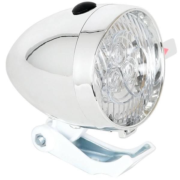 Lampka rowerowa retro chrom przód LED
