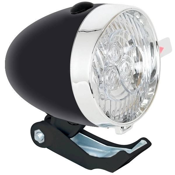 Lampka rowerowa retro czarna + chrom przód LED