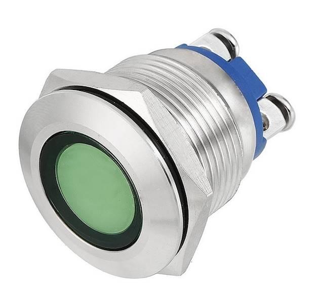 KONTROLKA LED 18mm 230V METAL ZIELONA