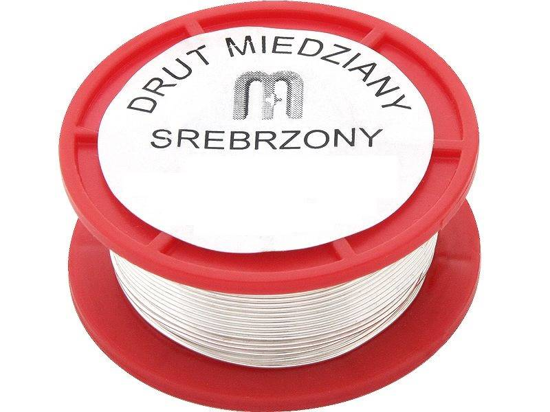 DRUT MIEDZIANY SREBRZONY 0.8mm 75g ''SREBRZANKA''