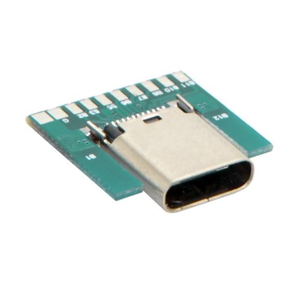 GNIAZDO USB typ C Z PŁYTKĄ DO LUTOWANIA KABLI