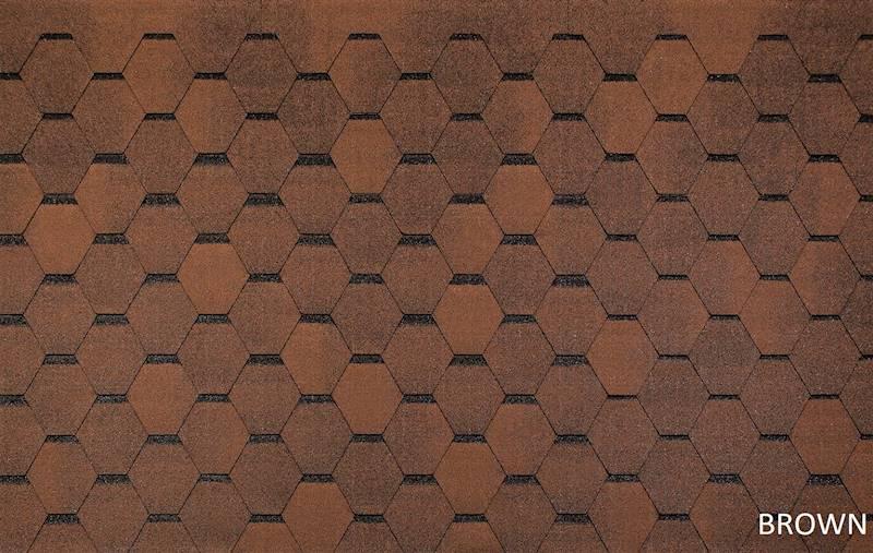 GONT BITUMICZNY TEGOLA ECO ROOF HEXAGONAL BROWN gr.3,0mm (3,00m2/op.)