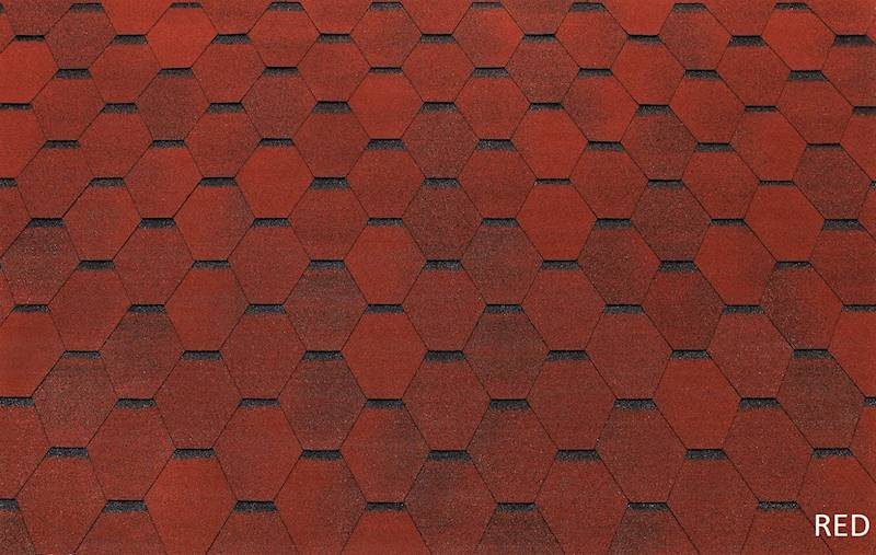 GONT BITUMICZNY TEGOLA ECO ROOF HEXAGONAL RED gr.3,0mm (3,00m2/op.)