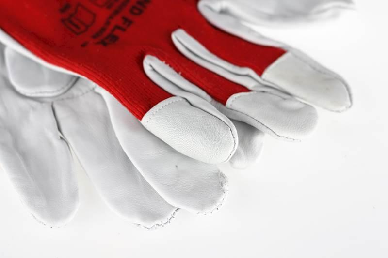 Rękawice skórzane z materiałem
