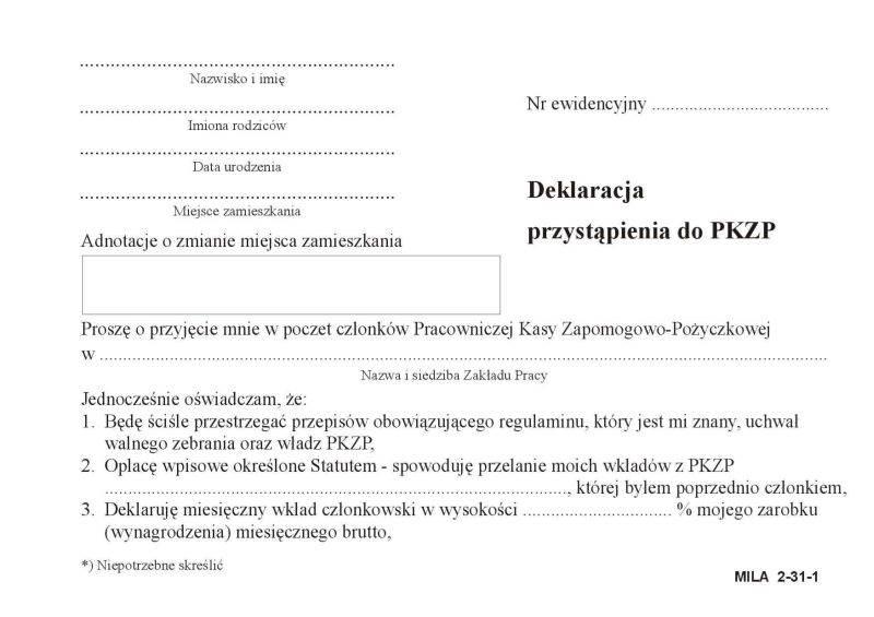 Deklaracja przystąpienia do PKZP/100k.o.