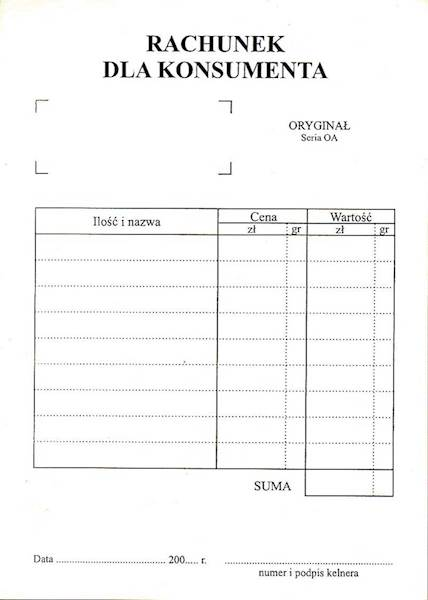 Rachunek dla konsumentaHD-21 A6/80k.offset/