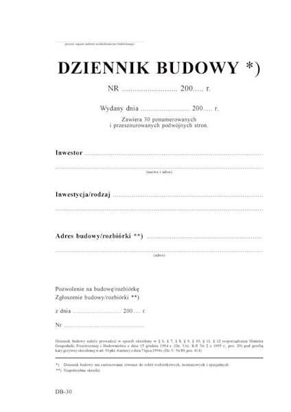 Dziennik budowy 30str./60k.