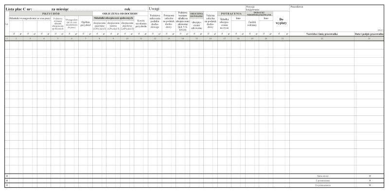 Lista płac C 1/2A2 /80k./offset