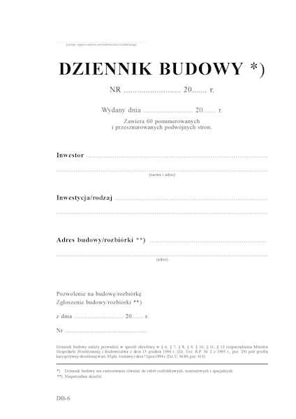 Dziennik budowy 60str./120k.