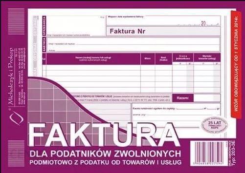 FAKTURA VAT A5 DLA PODATNIKÓW ZWOLNIONYCH 203-3E