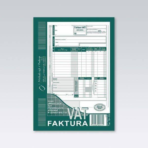 FAKTURA VAT A5 BRUTTO PIONOWA 124-3E