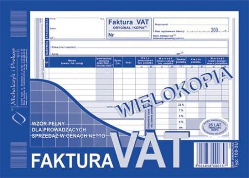 FAKTURA VAT A5 WIELOKOPIA 100-3U