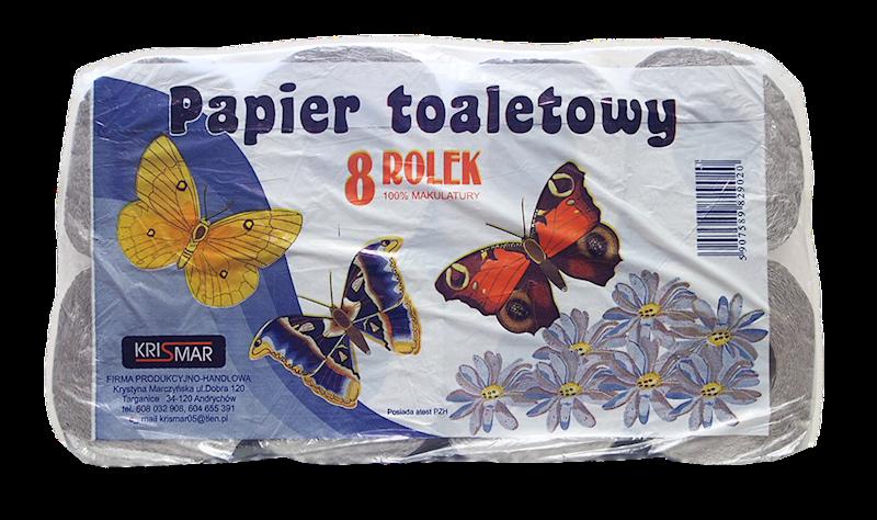 PAPIER TOALETOWY SZARY 8X8 ROLEK