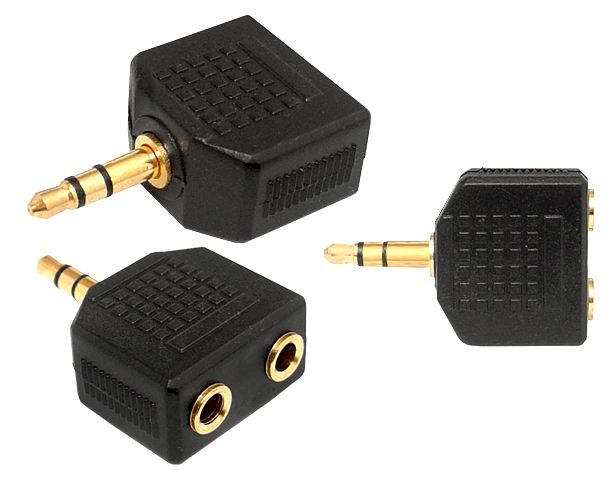 Adapter Jack 3,5mm wtyk - 2x Jack 3,5mm gn. - gold