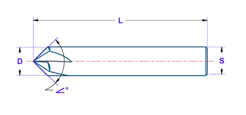 Fazownik D=12 Z=4 kąt wierzchołkowy 90 stopni, powłoka XA (TiAlN)