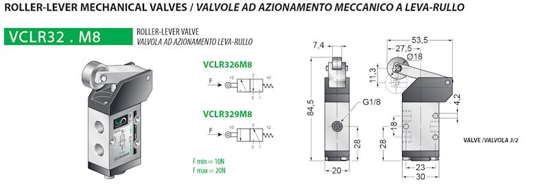 VESTA VCLR326M8 ZAWÓR 1/8 ROLLER-LEVER 3W