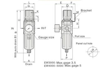 """UP EW4000-04 FILTR REGULATOR FR 1/2"""""""
