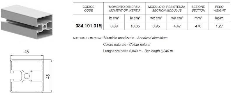 ALUSIC 084101015 PROFIL 45X45 ROWEK 1