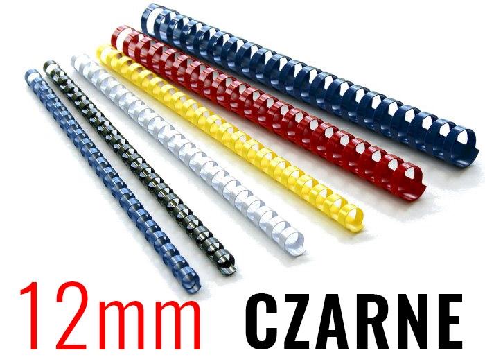 GRZBIETY DO BIND 12mm 100szt CZARNE