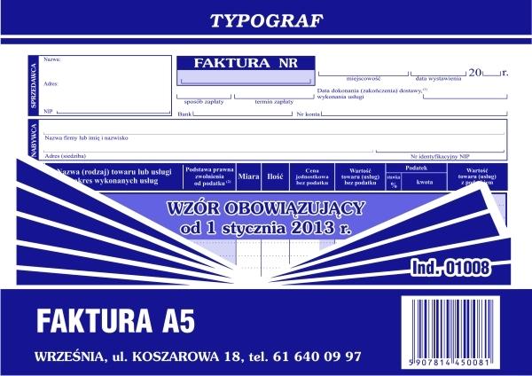 DRUK FAKTURA VAT A5 POZI 1008.TYP