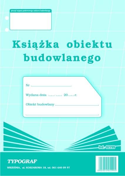 DRUK KSIĄŻKA OBIEKTU BUDOWLANEGO A4 2299.TYP