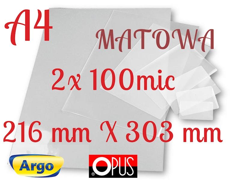 FOLIA DO LAMINOWANIA A4 100µm MATOWA ARGO