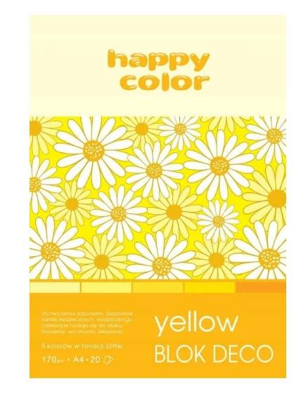 BLOK Z MOTYWAMI A4 DECO YELLOW 20ark 170g HAPPY CO