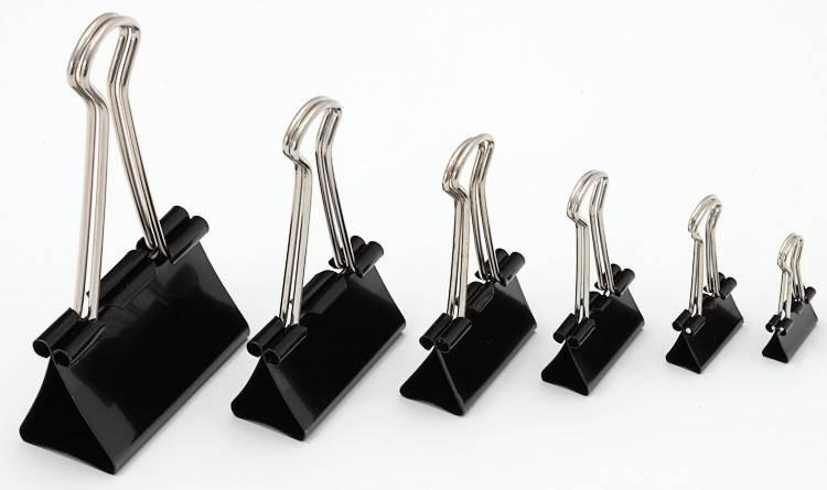 KLIPS BIUROWY METALOWY CZARNY 12szt | 15-51mm